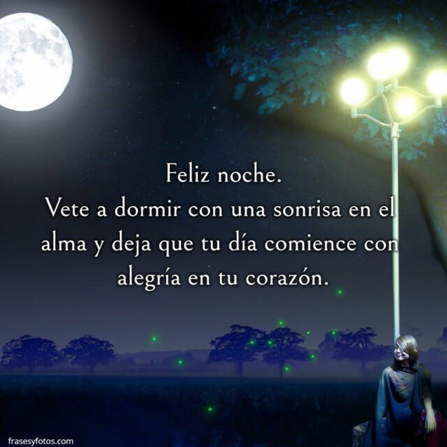 Frase noche, buenas noches, oscurecer, luna, mujer, luces